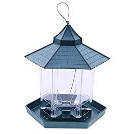 LFDHSF Green Pavilion Bird Feeder Outdoor Hanging Food Container Garden Decoration Pet Enclosure Cage Cup,17.5X20X24