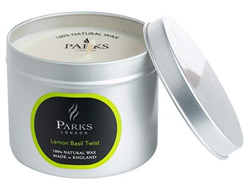 Parken London Noir 100% Natuurlijke Wax Kaars – Minimalistische Kaars in Compact Tin – Luxe en Natuurlijke Schone Brandende Wax – Langdurige Single Wick 32 Uur Cleanburn