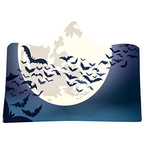 SilenceID Halloween Decke Scary Horror Hexe Kürbis Fledermaus Decke Hoodie für Kinder Erwachsene Dicke Doppelschicht Halloween Mantel Cape