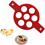Pancake Mold Ring Silicone Egg Ring-Non-stick Omelette Mould-Pancake Making Mould-Breakfast Egg for You to Save Precious Time (red)