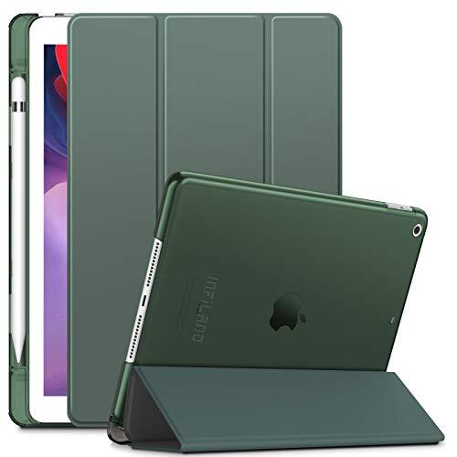INFILAND Hülle für iPad 10.2 inch(9.Gen 2021/8.Gen 2020/7.Gen 2019), iPad 7/8/9 Generation Hülle,Superleicht Transluzent Schutzhülle Hülle mit Stifthalter,Auto Schlaf/Aufwach