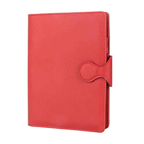 TWBBetter Planificador Recargable de viaje inserta las revistas forradas para escribir en el cuaderno de 6 anillos de cuero A5 Binder con hebilla magnética (Bermellón)