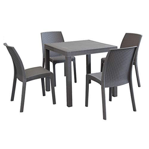 MilaniHome Set Tavolo da Giardino Quadrato Fisso Cm 80 X 80 con 4 Sedie in Wicker Stampato Taupe da Esterno Giardino