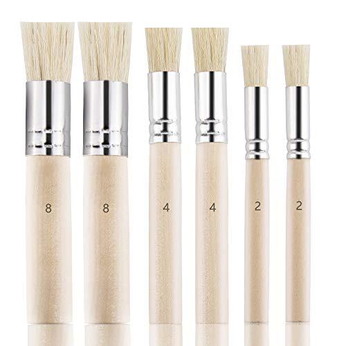 LUTER 6 Stück Holz Schablone Pinsel, Natur Borste Schablone Pinsel für Acrylmalerei, Ölmalerei, Aquarellmalerei, Kartenherstellung, DIY Art Crafts Project (3 Größen)