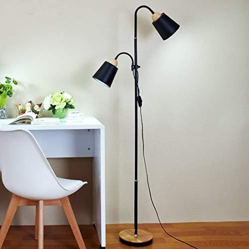 Koper YWXLight High And Low Lift Vertical Double Head Staande Lamp Simple Creative Decoration Floor Lamp (Color : Black)
