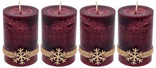 ZauberDeko 4 Adventskerzen Kerzen Stumpenkerzen Bordeaux Rot Schneeflocke Holz Advent Deko Tischdeko