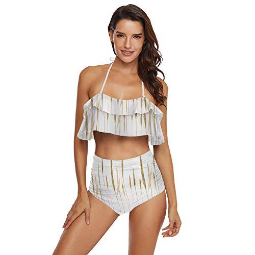 Plus Size Two Piece Swimsuits for Women Off Shoulder Top High Waisted Ruched Bikini Border Made of Hand-Drawn Wild rye Wheat Isolated,L