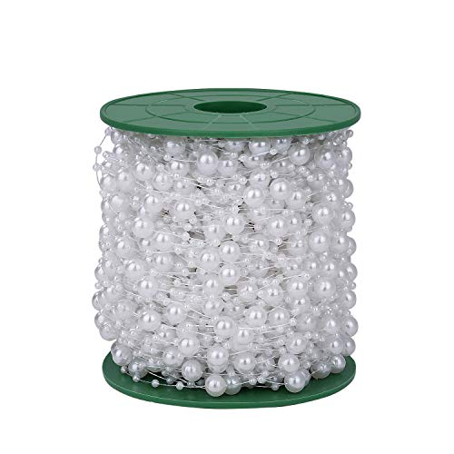 Ghirlanda di Perle 60 Metri Catena di Perle Artificiale Ghirlanda Fili Perline Bianco DIY Decorazioni per Martimonio Natale Ornamenti