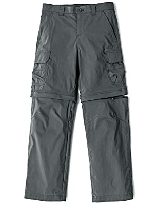 CQR Kids Youth Hiking Cargo Pants, UPF 50+ Quick Dry Convertible Zip Off/Regular Pants, Outdoor Camping Pants, Boy Convertible(bxp432) - Charcoal, 8_Small