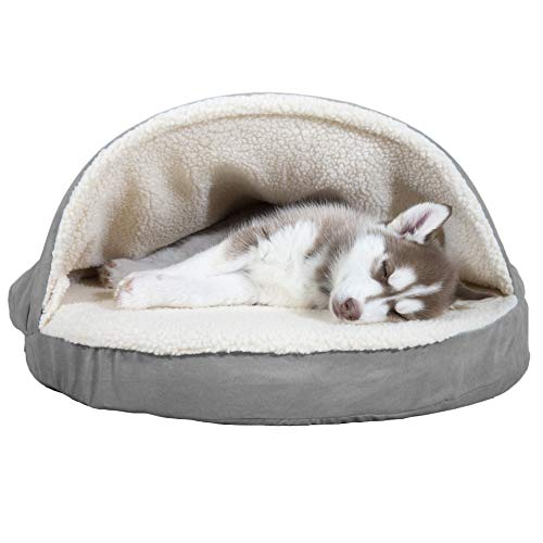 Furhaven Pet Dog Bed - Orthopedic Round Cuddle Nest Faux Sheepskin Snuggery Blanket Burrow Pet Bed with Removable Cover for Dogs and Cats, Gray, 26-Inch