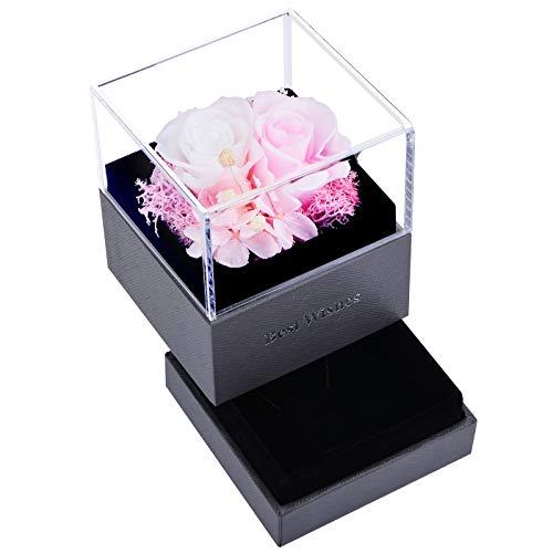 Rose in Geschenkbox, Ewige Rose Blume in Schmuckschatulle, Handgefertigte Konservierte Rose, Schmuckkästchen,Geschenk für Sie am Erntedanktag, Valentinstag, Muttertag (Pink + Weiß)