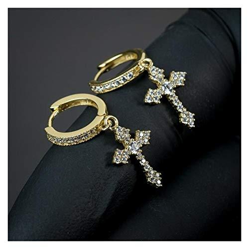 LUOSI Arrow Cross-shape Drop Earrings For Women/Men Dazzling Zirconia Female/Male Fashion Earrings (Main Stone Color : White, Metal Color : Gold color)
