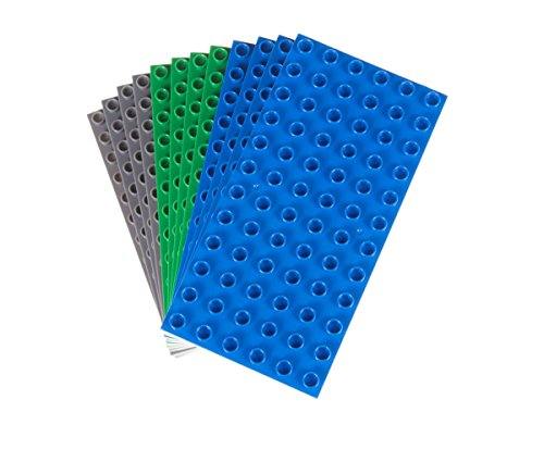 Big Briks - Pack de 12 Bases para Construir - Compatible con Todas Las Grandes Marcas - Tacos Grandes - 19,05 x 9,53 cm - Azul, Gris y Verde