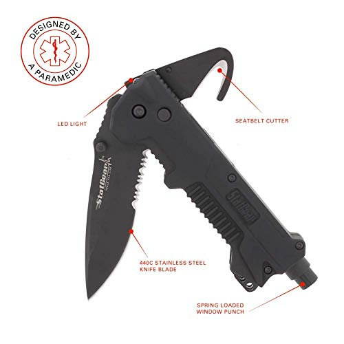 StatGear T3 Tactical Auto Rescue Tool - knife, seatbelt cutter, spring-loaded window punch, light. sheath included