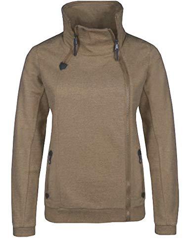 Sublevel . Damen Zipperjacke Sweatjacke Übergangsjacke modern und stylisch mit Reißverschlüssen in braun meliert XS-XL (XL)