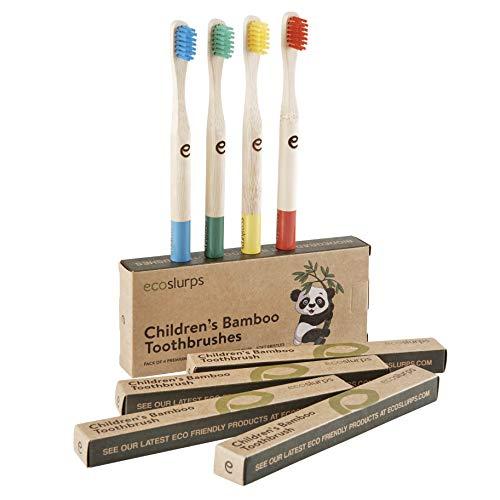 Cepillos de dientes de bambú para niños EcoSlurps | Cepillo de dientes compostable ecológico con mangos de color | Cerdas suaves | Árbol plantado con venta