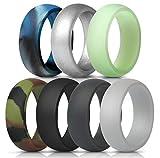 ThunderFit Mens Silicone Wedding Rings Wedding Bands - 7 Pack (Black, Dark Grey, Camo, Navy Blue, Silver, Glow in the Dark, Blue Camo, 11.5 - 12 (21.3mm))