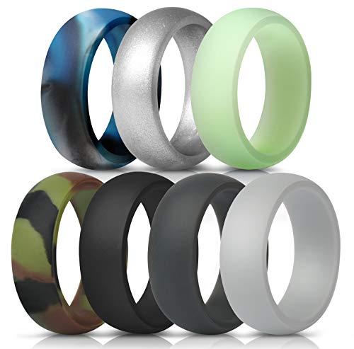 ThunderFit Mens Silicone Wedding Rings Wedding Bands - 7 Pack (Black, Dark Grey, Camo, Navy Blue, Silver, Glow in The Dark, Blue Camo, 9.5 - 10 (19.8mm))