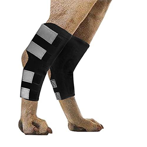 Wikay 2Pcs Protège-coude pour Chien avec des Sangles réfléchissantes Protège-coude Aide en Cas de blessures au Ligament Entorses et Perte de stabilité causées par l'arthrite L