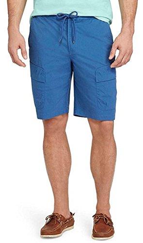 Chaps Men's Classic-Fit Stretch Performance Elastic Waist Cargo Shorts (Medium, Carlyle Blue)