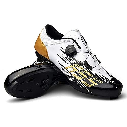 WYUKN Zapatillas de Ciclismo MTB para Hombre Zapatillas de Bicicleta de Montaña SPD Zapatillas de Bicicleta de Carretera Zapatillas de Ciclismo Al Aire Libre Transpirables con Tacos SPD,White-44