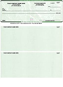 250 Printed Computer Laser Checks - Check on Top - Compatible for QuickBooks/Quicken Software - Marble Green