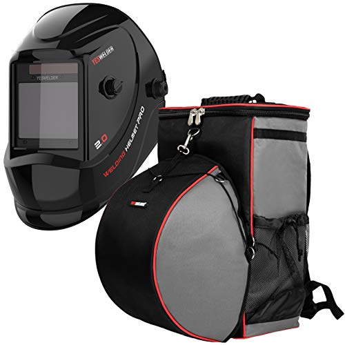 "YESWELDER Large Viewing Screen 3.94""X3.27"" True Color Solar Power Auto Darkening Welding Helmet&Welding Backpack Extreme Gear Pack with Helmetcatch"