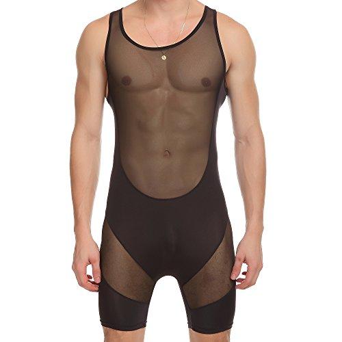 ONEFIT Sexy Men's Jumpsuit Black Bodysuit Transparent Mesh Briefs Underwear L