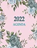 2022 Agenda: a4 dia por pagina agenda planificador diario 2022 grande   12 Mes, 365 días con horas planificador diario por horas 2022 : calendario planificador 2022 - Español - Flores