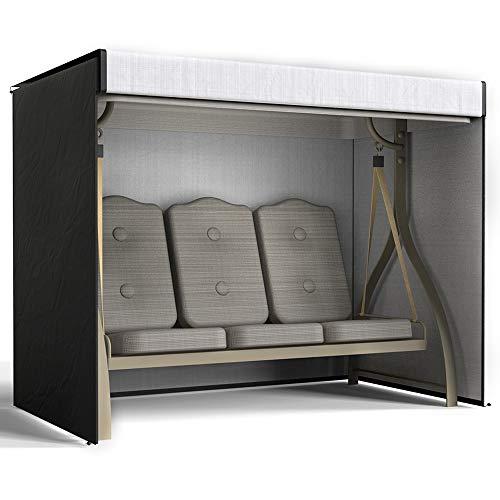 Hollywoodschaukel Schutzhülle 3 Sitzer Abdeckplane aus 420D Oxford Wasserdicht Winddicht UV-Beständiges Reißfest Gartenmöbel Schaukelabdeckung Abdeckung für Gartenschaukel (Schwarz, 220*125*170cm)