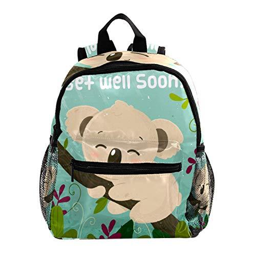 School Backpack Lightweight Schoolbag Travel Camp Outdoor Daypack,Get Well Soon Message with Cute Koala