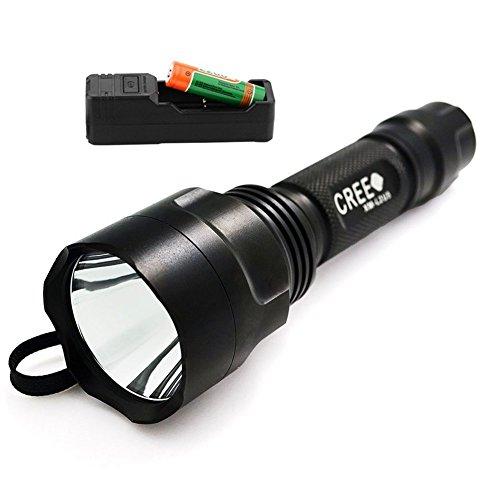 Forrader C8 CREE XM-L2 U3 Superhelle 2000 Lumen LED Taschenlampe Kit mit One Piece nachladbare 18650 Batterie und Ladegerät, Schwarz