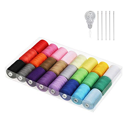 NEX Sewing Thread Assortment Cotton Spools Thread Set for Sewing Machine, 24 Colors 1000 Yards Each