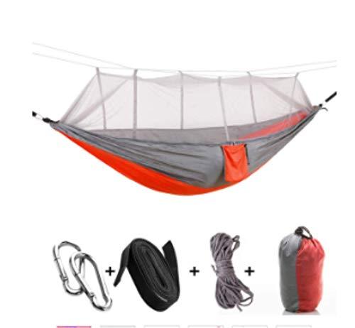 Hamac de Camping/Jardin avec moustiquaire Mobilier d'extérieur 1-2 Personne Portable Lit Suspendu Force Parachute Tissu Sleep Swing Gris Orange