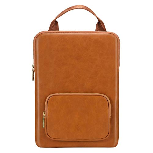 Comfyable Laptop Sleeve 13-13.3 Inch Compatible with MacBook Pro/Air with Handle and Pocket - PU Faux Leather Notebook Computer Carry Bag Briefcase - Brown