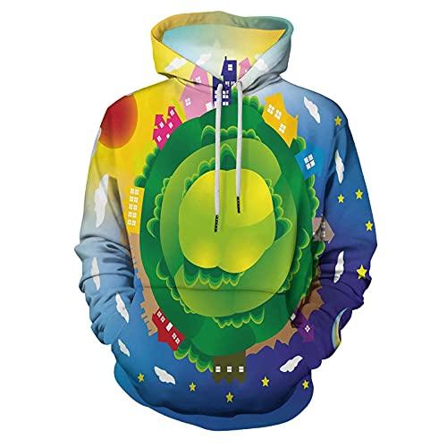 Hoodie Hooded Sweatshirt Earth Cartoon Style Global Scene for Men/Women