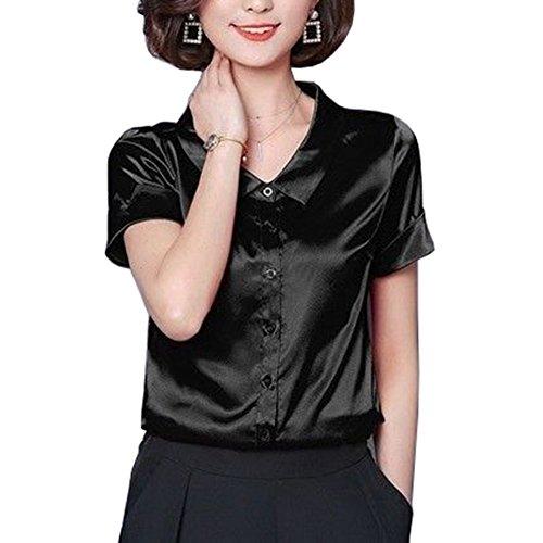 Mujer Blusa de Seda Satinada Manga Corta Camisa Formal Tops