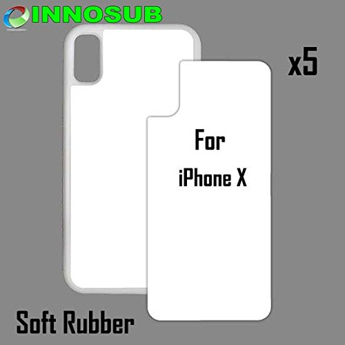5 x Apple iPhone X-Rubber-White - Blank dye case + Inserts for dye Sublimation Phone Cover/Blank Printable case, Made by INNOSUB USA