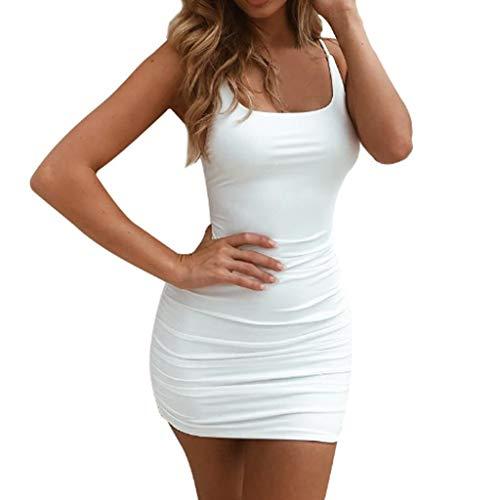 SANNYSIS Kleid Damen Sommer Kurz Stretch Vest Dress Spaghetti Strap Tank Top Bodycon V-Ausschnitt Schulterfrei Kleider Elegant Strandkleider...