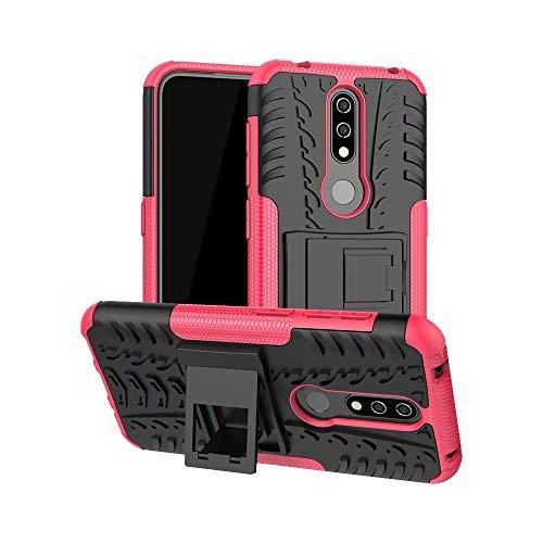 TiHen Handyhülle für Nokia 4.2 Hülle, 360 Grad Ganzkörper Schutzhülle + Panzerglas Schutzfolie 2 Stück Stoßfest zhülle Handys Tasche Bumper Hülle Cover Skin mit Ständer -Rose