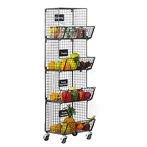Nandae Metal Wire Basket with Wheels & Removable Chalkboards, 4 Tier Wall Mounted Storage Basket Organizer, Stackable Hanging Fruit Basket Utility Cart for Kitchen, Pantry, Vegetables, Potato & Onion