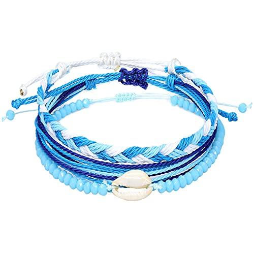 1 pulsera para hombre azul con hilo de cera tejida a mano de tres piezas para brazaletes exóticos para señoras