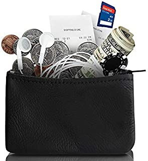 Genuine Leather Coin Pouch Change Holder For Men/Woman With Zipper Pouch Size 4x2.5 By Nabob Leather