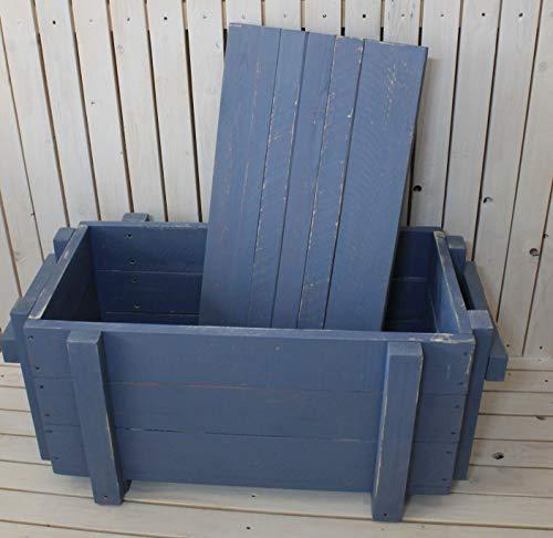 dekorie67 Truhe aus Holz sehr stabil schweden blau Shabby Vintage fertig montiert - 4
