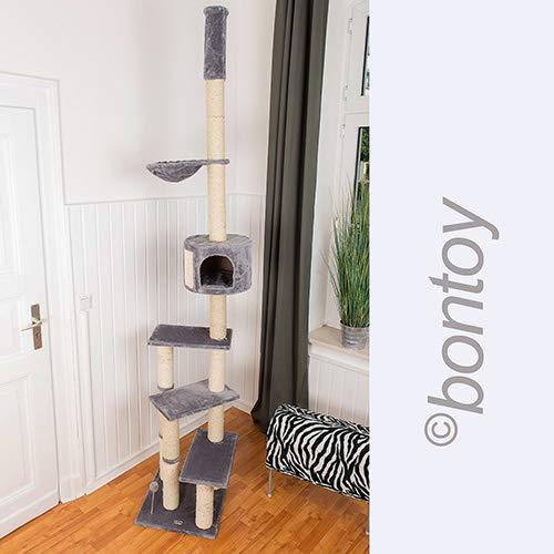 Bontoy Kratzbaum Pascha | Deckenhoch | mit 3 Ebenen | Farbe grau | 240cm - 260cm | Sisalstämme mit 9cm Durchmesser | für Deckenhöhe von 240-260cm | weitere Deckenhöhe auf Anfrage