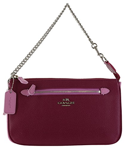 Coach Nolita Large Colorblock Wristlet Handbag Purse (Cyclamen/Marshmallow)