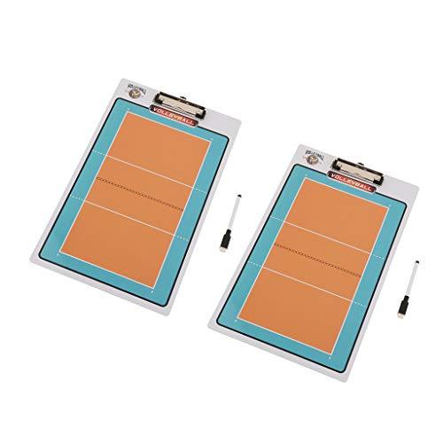 perfeclan 2pcs Pizarra de Fútbol/Voleibol/Baloncesto de Doble Cara, Material para Entrenadores y Árbitros, Accesorios Deportivos al Aire Libre - Voleibol ✅