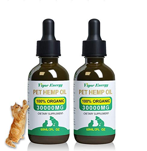 Vigor Energy Hemp Oil for Dogs & Cats - Pet Hemp Oil 60ML- Anxiety Relief for Dogs & Cats - 30000mg (2 Pack) Natural Relief for Pain - Omega 3, 6 & 9