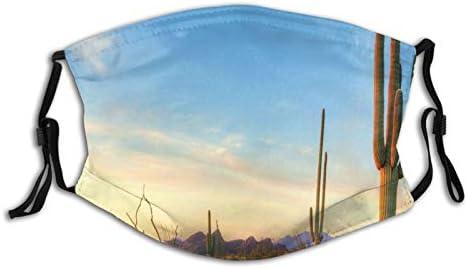FULIYA Mode Herbruikbare Wasbare Gezichtsdekking Unisex voor Motorfiets Fiets Running Fietsen en Buiten Met 2 Filter Sonoran Desert Catching Days Last Strys