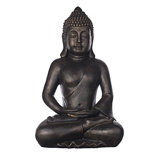 Großer Buddha B4001 Bronze, für Innen und Außen, Buddha Figur XXL 64cm hoch , Buddha Statue groß, Büste, Gartendekoration, aus Kunststein (Polyresin) aufwendig per Hand bemalt feine Strukturen